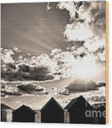 Beach Huts In Black And White Wood Print