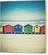 Beach Huts Muizenberg Retro Wood Print