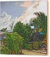 Beach In Front Of Colinda's Cabanas Wood Print
