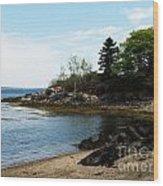 Beach In Maine Wood Print