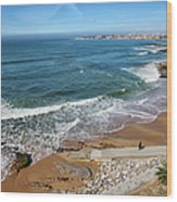 Beach In Resort Town Of Estoril Wood Print