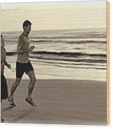 Beach Joggers Wood Print