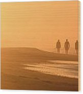 Beach Landscape Silhouetted Sunrise Walkers Nc Wood Print