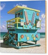 Beach Life In Miami Beach Wood Print