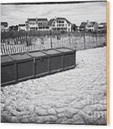 Beach Locker Wood Print by John Rizzuto