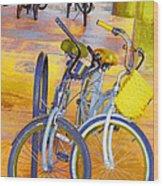 Beach Parking For Bikes Wood Print
