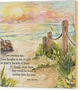 Beach Post Sunrise Psalm 139 Wood Print