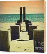 Beach Pylons Wood Print