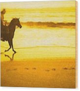 Beach Rider Wood Print