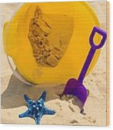 Beach Sand Pail And Shovel Wood Print