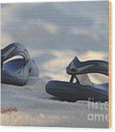 Beach Sandals 3 Wood Print