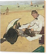 Beach Scene Little Girl Having Her Hair Combed By Her Nanny Wood Print by Edgar Degas