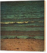 Beach Scene Ocean Waterfront Photograph Print Wood Print by Laura Carter