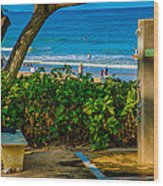 Beach Shower Wood Print