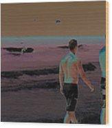 Beach Solar Series Xi Woman Swimming Usa Wood Print