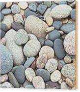 Beach Stones Wood Print