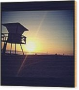 Beach Sunset Wood Print by Troy Lewis