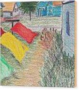 Beach Town Wood Print