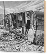 Beach Trailer Bw Wood Print