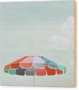 Beach Umbrella Wood Print by Elle Moss