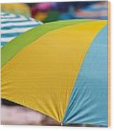 Beach Umbrella Rainbow 1 Wood Print