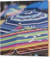 Beach Umbrella Rainbow 2 Wood Print