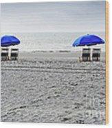 Beach Umbrellas On A Cloudy Day Wood Print