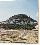 Beach View Of Lindos Wood Print
