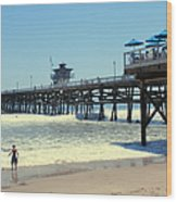 Beach View With Pier 1 Wood Print by Ben and Raisa Gertsberg
