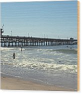 Beach View With Pier 2 Wood Print by Ben and Raisa Gertsberg