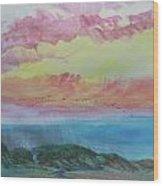 Beach Watercolor 2 Wood Print