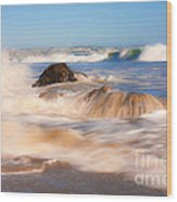 Beach Waves Smoothly Flowing Over The Rocks Fine Art Photography Print Wood Print