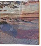Beach With Flag Wood Print