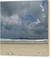 Beach With Gathering Storm Wood Print