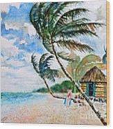 Beach With Palm Trees Wood Print