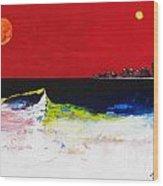Beach With Sun And Moon Wood Print