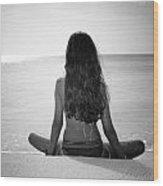Beach Yoga Wood Print
