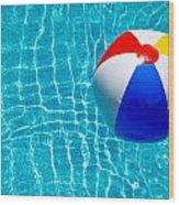 Beachball On Pool Wood Print