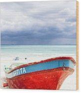 Beached Beyond The Storm - Riviera Maya Wood Print