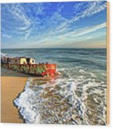 Beached Boat Morning - Outer Banks Wood Print
