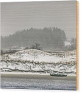 Beached Boat Winter Storm Wood Print