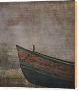Beached Dinghy Wood Print