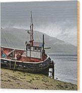 Beached Fishing Boat Wood Print