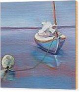Beached Sailboat At Mooring Wood Print