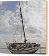 Beached Sailboat Wood Print