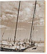 Beached Schooner Wood Print