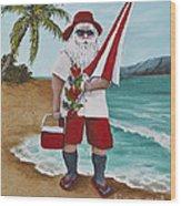 Beachen Santa Wood Print by Darice Machel McGuire