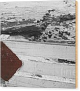 Beachside Warning Horizontal Bw With Colorized Red Sign Wood Print