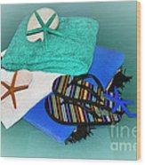 Beachy Things - Aqua Blue Wood Print
