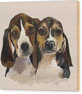 Beagle Babies Wood Print by Suzanne Schaefer